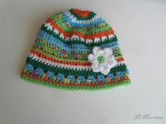 Baby Mütze Sommer, gehäkelt aus 100% Deutscher Qualitätswolle Baumwolle, vegan mit Blümchen Applikation von LiMariann auf Etsy