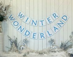 "Wedding ""Winter Wonderland"" Banner - Winter wedding, December wedding, wedding banner, reception, wedding decor, decoration, banner, snow"