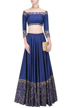 Navy and gold sequins lehenga with offshoulder crop top available only at Pernia's Pop Up Shop.