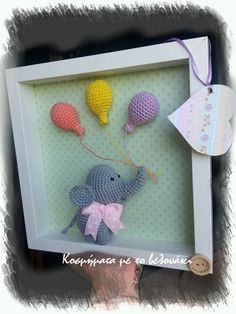 One more crochet frame with a little elephant - Salvabrani Crochet Bird Patterns, Crochet Birds, Crochet Animals, Crochet Box, Crochet Teddy, Personalised Gifts Unique, Crochet Disney, Baby Frame, Crochet Elephant