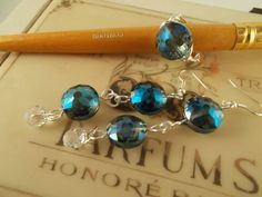 Blue Crystal drop Earrings and Ring set  by TheBarefootBombshell, $16.00