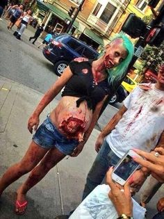 LOVE THIS! WISHI WAS PREGNANT OVER HALLOWEEN seriously scary zombie special effects makeup with a baby poppin out lol: