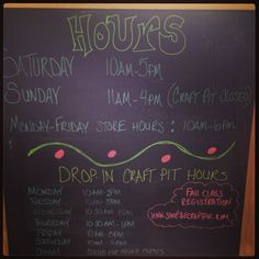 Store and craft pit hours at #BeCraftful