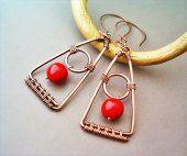 Orecchini a Triangolo In Rame e Corniola Rossa #bijoux #earrings #handmade