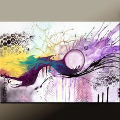 The Balancing Act - Abstract Art Painting on Canvas 36x24  Original by wostudios, $159.00