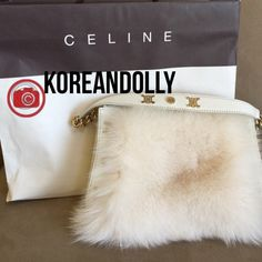 Authentic Celine 100% rabbit fur purse 100% rabbit fur (white) limited edition                 Worn twice. It has gold hardware and it is absolutely stunning. They only made 300 of them and this purse is 43/300 ever made! There is a slight lip gloss mark inside the bag but the exterior is flawless! Celine Bags Shoulder Bags