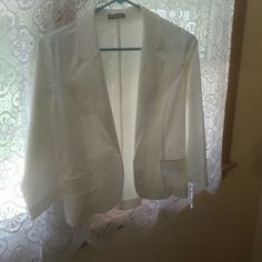 Blazer jacket Light weight unlined short blazer jacket. Perfect for over almost anything in the summer. Two mock pockets in the front. Machine wash tumble dry. Made of 55percent  polyester, 42 percent rsuon, 3 percent spandex. wearever Jackets & Coats Blazers