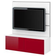 BESTÅ/FRAMSTÅ TV/storage combination - white/high gloss red - IKEA