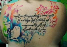 Love the colors and images not the saying so much......Image detail for -watercolor tattoos - Bing Images