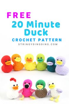 Free 20 Minute Duck Crochet Pattern - Free 20 Minute Duck Crochet Pattern Crochet a cute and easy duck in only 20 minutes! Visit my site to see the free crochet pattern. Crochet Easter, Crochet Penguin, Easter Crochet Patterns, Crochet Birds, Easy Crochet Animals, Crotchet Patterns, Crochet Pattern Free, Crochet Gratis, Crochet Patterns Amigurumi