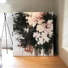 """Midnight in the Garden"" 60x55 #contemporaryart #modernart #garden #abstract #abstractart #la #abstractlandscape #flowers #interiors #interiordesign #color #neutrals #painting #textures #art #artist #carlosramirez"