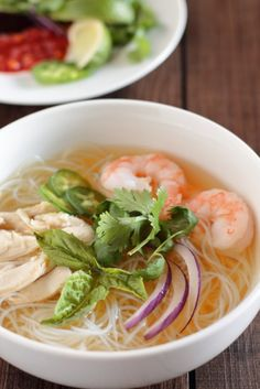 Chicken and Shrimp Pho ~ Vietnamese Chicken Noodle Soup - Asian Soup Recipes - Pho Noodle Soup, Chicken Noodle Soup, Chicken Soup Recipes, Hamburger Recipes, Shrimp Soup, Chicken And Shrimp, Asian Chicken, Seafood Soup, Coconut Chicken