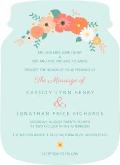 Mason Jar Wedding Invitations. Coral and Mint Country Floral Wedding Invitation from Invite Shop. #MasonJarWeddingIdeas #MasonJarWeddingInvitations
