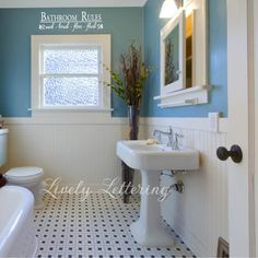 small bathroom tile ideas blue and white with cool bathroom flooring ideas tiles and white modern vanity sinks with stainless steel faucet Bathroom Redesign, Wainscoting Bathroom, Small Bathroom Tiles, Blue Bathroom, Small Bathroom, Bathroom Rules, Painting Bathroom, Bathroom Flooring, Bathroom Design