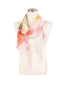 Fashion Infinity Scarf, White Floral Silk Lightweight Chiffon Scarf, Silk Scarves Romantopia. Gift for her. Made to order. by LEOKOXX on Etsy