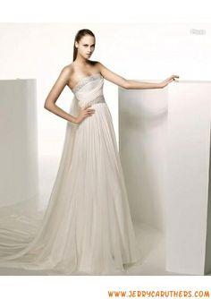 2013 riemless recht hals A-Lijn /prinses Rok chiffon trouwjurk