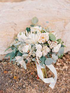 Protea, garden rose, and eucalyptus bouquet   Danielle Poff Photography   Natural Elegance at a Southern California Vineyard