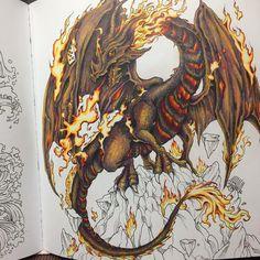 "6 Likes, 2 Comments - Anja B. Netzkatze (@anja.netzkatze) on Instagram: ""#mythomorphia #kerbyrosanes #coloringbook #wip the fire dragon is slowly getting where I want it…"""