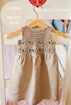 Ravelry: Granny Square Crochet / Fabric Dress pattern by Mon Petit Violon - FREE pattern Crochet Yoke, Crochet Fabric, Crochet Girls, Crochet Baby Clothes, Crochet For Kids, Irish Crochet, Crochet Crafts, Crochet Toddler Dress, Boho Crochet Patterns