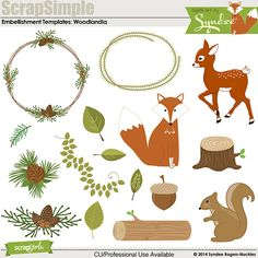 ScrapSimple Embellishment Templates: Woodlandia - Commercial License Digital Scrapbooking Kit by Syndee Nuckles | ScrapGirls.com