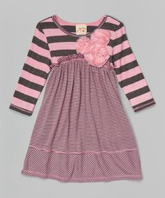 Charcoal & Pink Stripe Rosette Babydoll Dress - Toddler & Girls #zulily #ad *cute