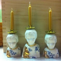 Clonette doll candle holders by Lammers en Lammers, two Dutch sisters who make traditional Dutch figures in porcelain.