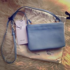 100% authentic Celine trio bag in lavender 100% authentic Celine trio bag in lavender. The bag is listed for $1,050 + tax. You will save $50 and tax on this item. Price is FIRM as I have yet to decide if I want to keep it. No trades, no PayPal, and no counters, as all questions on the price will be ignored. Celine Bags