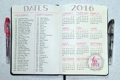 Yearly spread, I would include events/vacations, and put them all in one column with their own key. #bulletjournal