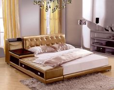 post modern real genuine leather bed with storage box and sideboard