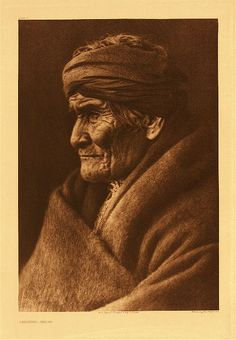 Geronimo, by Edward S. Curtis - This portrait of the historical old Apache was made in March, 1905. According to Geronimo's calculation he was at the time 76 years of age. The picture was taken at Carlisle, Pa, the day before the inauguration of President Roosevelt, Geronimo being one of the warriors who took part in the inaugural parade at Washington. He appreciated the honor of being one of those chosen for this occasion...