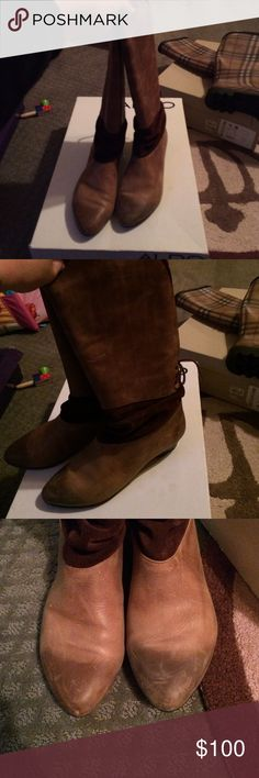 Leather boots Leather boots with dark brown suede have a small heel perfect for a night out slightly used but in good condition Aldo Shoes Heeled Boots