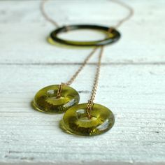 Amber Wine Lariat // Recycled Glass Bottle by reVetro on Etsy, $25.00