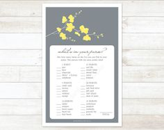 bridal shower game whats in your purse printable yellow orchid wedding shower digital games - INSTANT DOWNLOAD