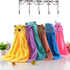 6 Colored Cute Pig Coral Cashmere Towel Soft Plush Fabric Quick Drying The Kitchen Cleaning Tools Does Not Absorb Oil Towels