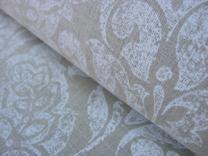 Linen Print Fabric Cocco White