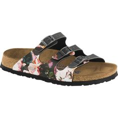 Birkenstock Women's Papillio Florida Soft Footbed Painted Bloom Black... ($100) ❤ liked on Polyvore featuring shoes, sandals, black, cork sandals, strappy sandals, strap shoes, black strappy shoes and black strappy sandals