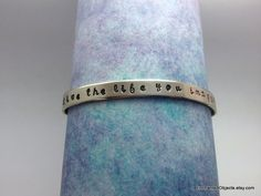 Hand Stamped Nickel Silver Cuff Bracelet Live by EnchantedObjects, $15.00