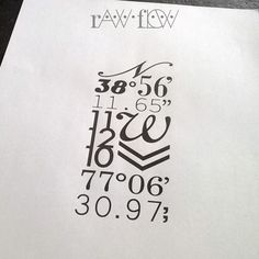 Typography tattoo with birthdate and coordinates                                                                                                                                                                                 More