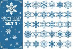 Decorative Snowflakes Shapes Set 1 by pixaroma on Creative Market