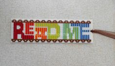 Read Me Modern Cross Stitched Bookmark by stitchnmomma on Etsy, $8.00