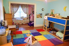 Charming and Playful Kid Spaces: 20 Shared Bedroom Ideas : Wooden Floor Colorful Rug Blue Wall Pink Wall Shared Boy And Girl Room Boy And Girl Shared Room, Shared Boys Rooms, Boy Girl Bedroom, Shared Bedrooms, Girl Room, 1 Girl, Kids Bedroom Storage, Boys Room Design, Toddler Rooms