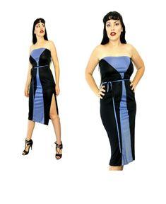 Blue Black Geometric Stripe disco Strapless dress slinky Color block Retro M Vintage Clothing, Vintage Outfits, Strapless Dress, Jumpsuit, Retro, Blue, Clothes, Color, Dresses