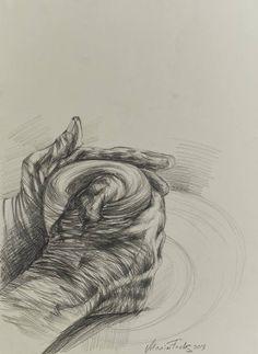 Original People Drawing by Maxym Kulikov | Realism Art on Paper | Potter's hands