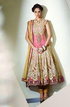 Beige Net Embroidered Anarkali Suit 35966