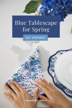 Heidi's placemats are the perfect table accessory to elevate any table setting. Featuring her signature elegant scalloped trim, this is a set of napkin and placemat you will create a dreamy blue tablescape for spring.