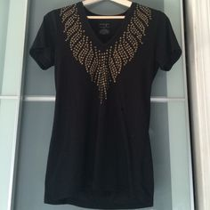 Black studded tshirt Black tshirt with gold flat studded design. Fits like a medium. Very comfy. Energie Tops Tees - Short Sleeve