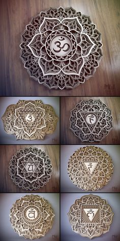The 7 Chakras Mandala Bundle, Mandala DXF files, Chakras Mandala Dxf Files For Laser, Mandala Svg Bu 7 Chakras, Mandala Pattern, Mandala Design, Lotus Flower Mandala, Pooja Room Door Design, Quilling, 3d Cnc, Puja Room, Cnc Router