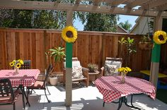 Sunflowers & Ladybugs Back Yard BBQ by carriecarbajal, via Flickr