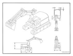 """Great little project that actually digs and scoops. The excavator works well with the dump truck. All parts move and the plan does require a 4"""" lazy susan bearing. The excavator measures about 11 ½"""" long and has a reach of over a foot. It is constructed from all ¾"""" thick lumber. Purchase is the plan only. All drawings will print on standard 8.5x11 paper.  If you are interested in purchasing this as a built toy please message me for price and lead time. I do try to customize individual toys…"""