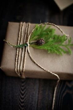 Brown kraft paper makes the perfect blank canvas for gift wrapembellishments